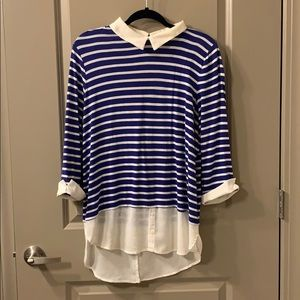BEAUTIFUL striped blouse with embroidered collar!